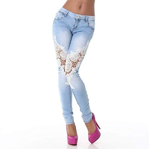 Ajustados Señoras Hacia Vaqueros Jeans Huixin Lápiz Con Empalme De Pantalones El Largos Encaje Bolsillos Hellblau Las Ahuecan Leggings Fuera Botón Stretch Estirar nIOOqA7