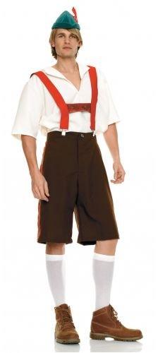 Hansel Gretel Costumes Adults (Leg Avenue Men's Lederhosen Costume, Brown, Medium/Large)