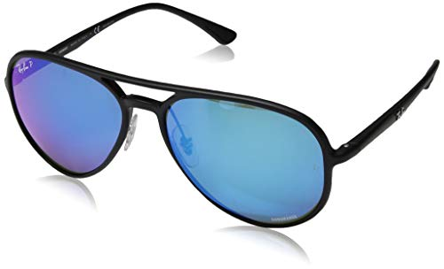 Ray-Ban RB4320CH Chromance Mirrored Aviator Sunglasses, Matte Black/Polarized Blue Mirror, 58 mm (Billig Ray Ban Style Sonnenbrille)