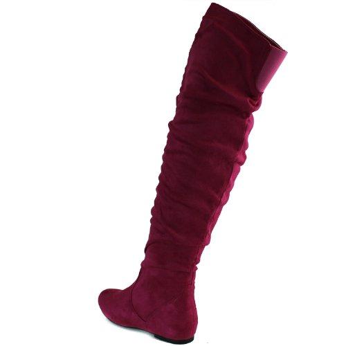 DailyShoes Damenmode-Hi Over-the-Knee Oberschenkel Hohe flache Slouchly Welle Low Heel Stiefel Fuchsia Sv