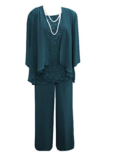 Women's 3 Pieces Lace Chiffon Mother of Bride Dress Pant Suits with Jacket Outfit for Wedding Groom(US 18 Plus, Teal)