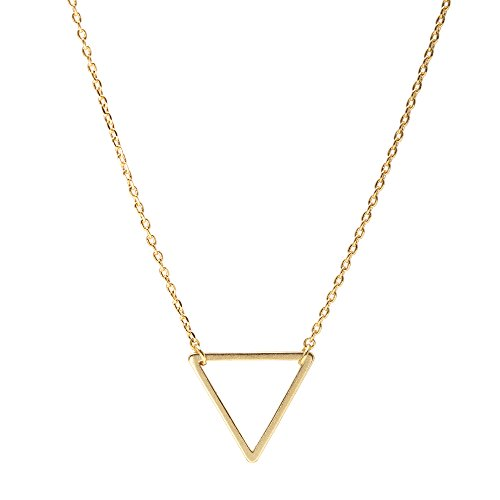 Gold Small Cut Out (Spinningdaisy Handcrafted Brushed Metal Cut Out Small Triangle Necklace Gold)