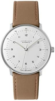 Junghans Max Bill Automatic Mens Watch – 38mm Analog White Face Classic Watch with Luminous Hands – Stainless Steel Brown Leather Band Luxury Watch for Men Made in Germany 027 3502.00