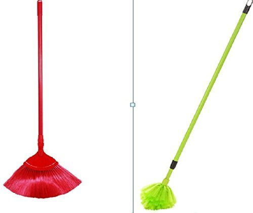 Truvic Set of Ceiling Broom V Shape Fan Broom and Round Shape Diamond Broom in Combo with Extending Sticks