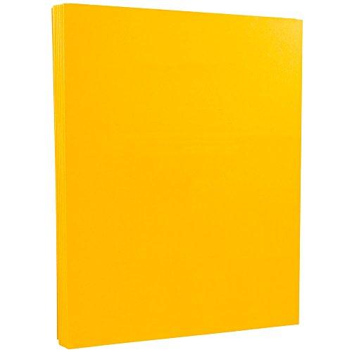 JAM PAPER Vellum Bristol 67lb Cardstock - 8.5 x 11 Letter Coverstock - Goldenrod - 50 -