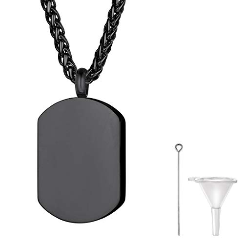 Child 3/4' Pendant - Black Military Dog Tag Cremation Necklace for Ashes for Men Dad Grandpa Stainless Steel Urn Keepsake Pendant with Wheat Chain