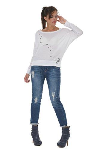 Manica a Donna da Elfo grigio Manica 3Elfen bianco con Maglietta Farfalle Pipistrello Lunga Stampa Magiche Allentatta 7wOEOX