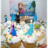 Disney Frozen Movie Figure Deluxe Cake Toppers / Cupcake Party Favor Decorations Set of 12 with Anna, Elsa the Snow Queen, Olaf, Reindeer, Ice Sled, Trees, Snow Monster, Trolls and -