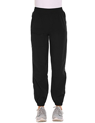 Price comparison product image Zeagoo Womens Winter Outdoor Quick Dry Hiking Trail Elastic Waist Pull on Sports Pants,Black,Large