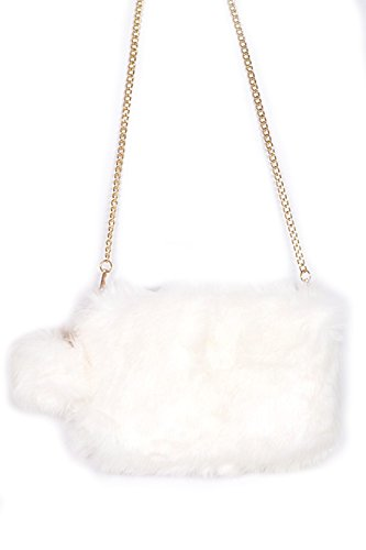 Womens Faux Fur Fluffy Square Clutch Shoulder Bag W/ PomPom PPC5718 (White) by GENx