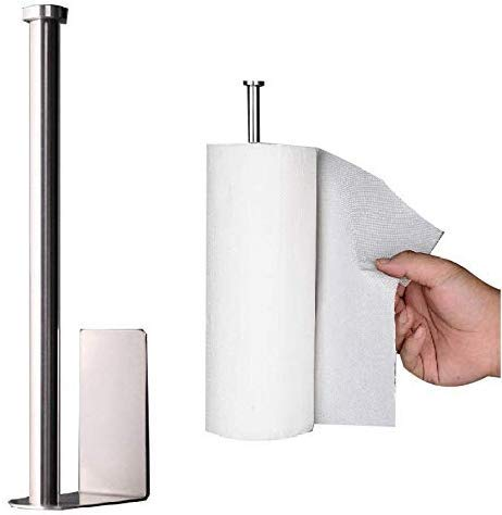 YCOCO Adhesive Paper Towel Holder,Wall Mounted Metal Towel Paper Holder,Under Cabinet for Kitchen Organization,Pack of 1