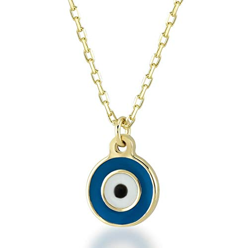 Gelin 14k Solid Gold Simple Evil Eye Good Luck Enamel Pendant Necklace for Women - A for Girlfriend, 18 inc Chain