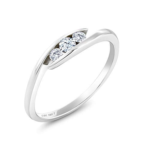 18K White Gold Solitaire Ring Round Hearts And Arrows White Created Sapphire and Forever Classic Created Moissanite 0.12ct (DEW) by Charles & Colvard (Size 5)