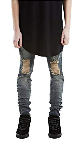 Moda Hombre Recto Nn RT Ripped Closure Hole Skinny Denim Biker Denim Fit Jeans Twill Pantalones 11 Estilos (Color : 966-Blau, Size : 36)