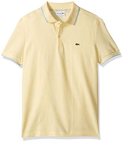 Lacoste Men's S/S Printed Pique Classic FIT Polo, NAPOLITAN Yellow, Small