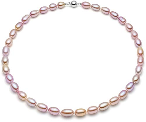 Freshwater Orient Pearl Necklace - HinsonGayle AAA Handpicked 8-8.5mm Lavender Oval Freshwater Cultured Pearl Necklace Silver 18 inch-18 in length