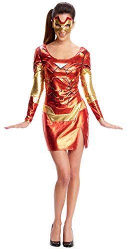Halloween Costumes Using Cardboard Box (Secret Wishes Women's Marvel Universe Iron Man Secret Wishes Rescue Costume Dress and Eye Mask, Multicolor,)