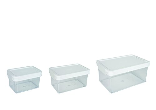 ClickClack Basics Storage Containers, 0.45-Quart, 1-Quart and 2-Quart, White Lids, Set of 3 ()