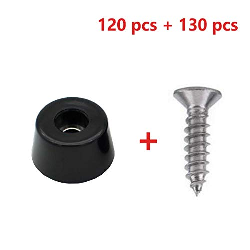 120 Small Round Rubber Feet W/304 Stainless Steel Screws, 0.31 inch H x 0.59 inch D, Soft But Not Slip, Fine Grips for Furniture, Electronics & Appliances!