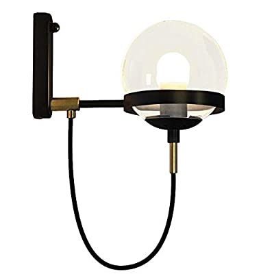 "BAYCHEER HL428601 Industrial Vintage style 5.9"" Wide Single Light wall sconces Wall Light Lamp with glass Globe shade use 1 E26 Bulb in Black"