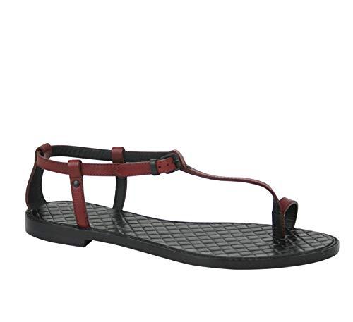 Bottega Veneta Women's Black/Red Leather Thong Sandal Woven Detail 254555 6130 (IT 40 / US 10)