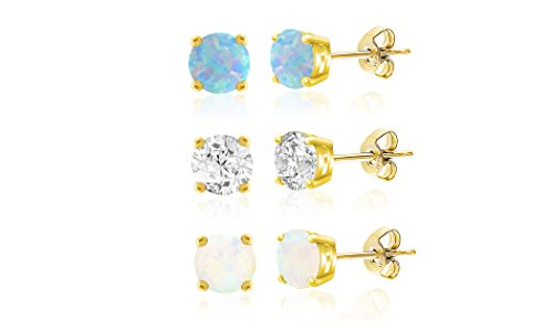 LESA MICHELE Lab Created White & Blue Opal & Cubic Zirconia Stud Gift Earrings 3 pair Set for Women in Yellow Gold Plated 925 Sterling Silver