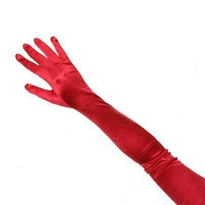 SACAS Long Bridal Satin Gloves in Red One (Red Long Gloves)