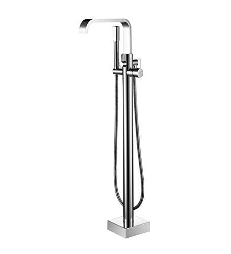 Aon-JY Brass Bathroom Tub Faucet Floor Mounted Tub Filler W/Hand Shower Mixet Spout Shower G1 / 2''12mm(5 kg),Chrome