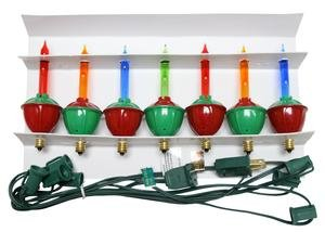 Brite Star 37522 - 7 Light Green Wire Candelabra Screw Base Red, Green, Yellow & Blue Bubble Light Set