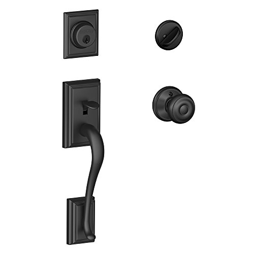 Addison Single Cylinder Handleset and Georgian Knob, Matte Black (F60 ADD 622 GEO) (Front Door Handle Black)