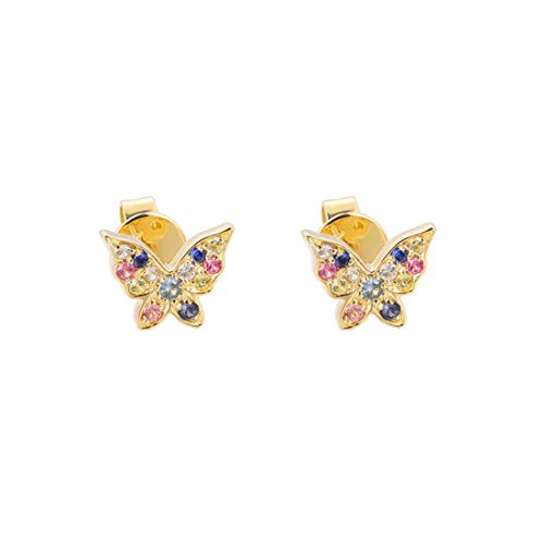 Carleen 14K Solid Yellow Gold Multicolored 0.132ct Sapphire 0.012ct Diamond Butterfly Stud Earrings for Women Girls
