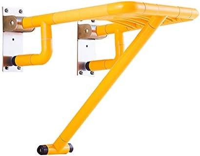 バススツールウォールマウントスペースを節約,壁掛け式強い支持力,のプラスチック製しっかりと安定通路の椅子浴室のシャワースツール 高齢者、障害者、肥満、負傷者に使用できます (Color : 黄)