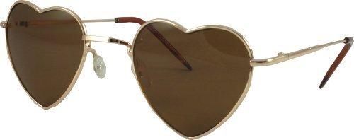 Revive Eyewear Men's Heart Shaped Retro Lolita 60's Gold Frame/ Brown Lens Non Polarized Sunglasses - Sunglasses Uk Heart