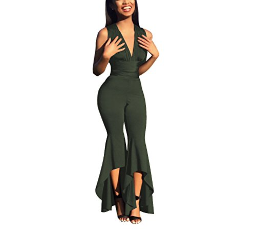 Ophestin Womens Bell Bottoms Flares Pants Sexy Bandage Bodycon Romper Jumpsuit Club Green XL