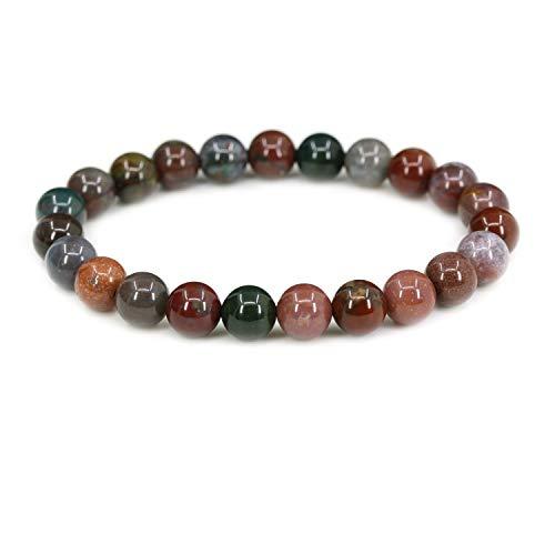 Natural Red Bloodstone Heliotrop Handmade Gemstone 8mm Round Beads Elastic Bracelet 7 Unisex