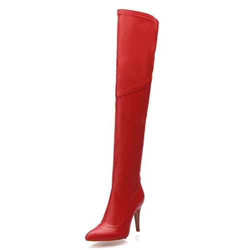 Women's Pointed High Boots Red Heels with AmoonyFashion Toe Toe Heeled Thin Closed High FqXxaF5d