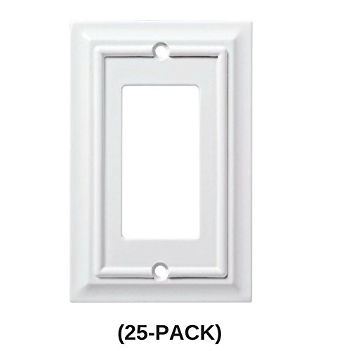 Architectural Wood Decorative Single Rocker Switch Plate, White (25-Pack)