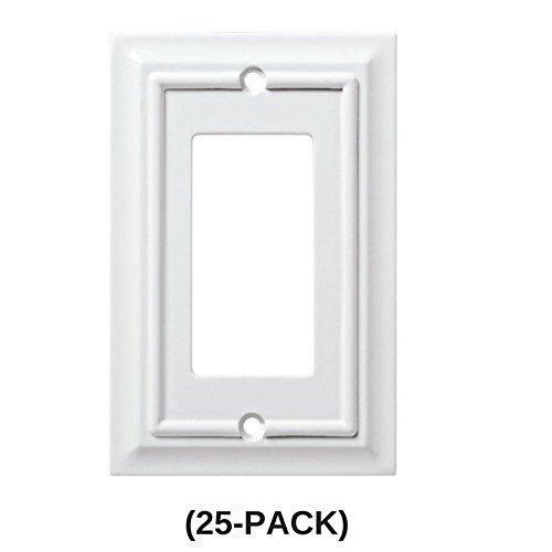 Architectural Wood Decorative Single Rocker Switch Plate, White (25 ...