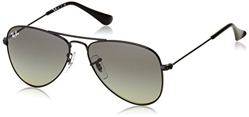 Ray-Ban Kids' Metal Unisex Aviator Sunglasses, Shiny Black, 50 - Youth Ray Ban