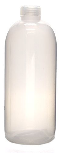 """1000mL Rigid Plastic Reagent Bottle with Narrow Mouth (0.8"""" ID) and Screw Cap - Polypropylene - Eisco Labs"""