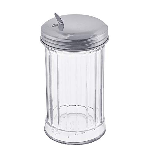 12 Ounce Glass Pourer - Glass Sugar Dispenser by Tezzorio, 12-Ounce Glass Sugar Pourer with Side Flap Top, Sugar Shaker with Stainless Steel Self-Closing Lid, Retro Style Glass Jar Sugar Dispenser