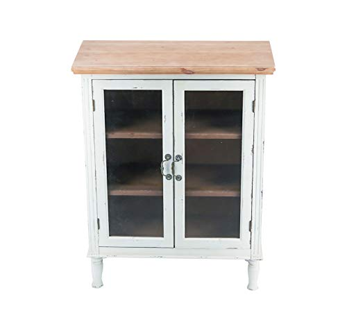 Farmhouse Buffet Sideboards Rustic Farmhouse Buffet Sideboard Kitchen Dining Storage Cabinet with 2 Glass Doors, 3 Shelves, Natural Wood Top… farmhouse buffet sideboards