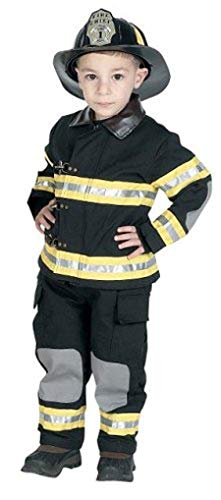 Jr. Fire Fighter Suit with helmet, size 4/6 (black)