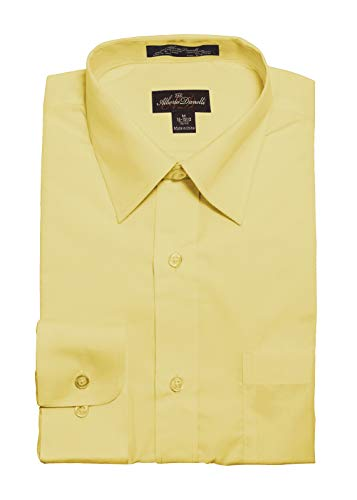 Alberto Danelli Men's Solid Long Sleeve Dress Shirt Canary Large / 16-16.5