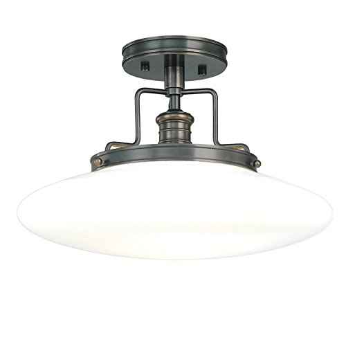 Hudson Valley Lighting 4205-OB Beacon 1-Light Semi Flush-Old Bronze Finish with Opal Mouth-Blown Glossy Glass Shade, 15