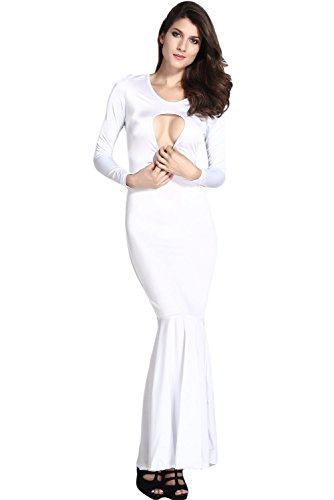 Chase Secret Women's Mermaid Bodycon Evening Maxi Dress Size US10 White