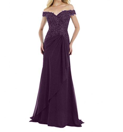 Charmant Brautmutterkleider Ballkleider formalkleider Damen Lang Pink Chiffon Spitze Festlichkleider Abendkleider r1ArFPx