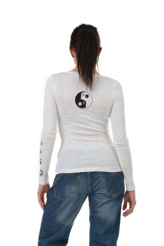 Longues À Fashion Blanc Yang De 3elfen Longues Shirt Fee Noir tee Ladies Hauts Imprime chemise Manches Yin Fx656Yq