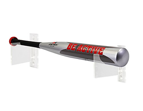 FixtureDisplays Set of 1 - Baseball Bat Display, Total of 2 Horizontal Wall Mount Brackets, Clear Acrylic 119997-1PK-NF by FixtureDisplays