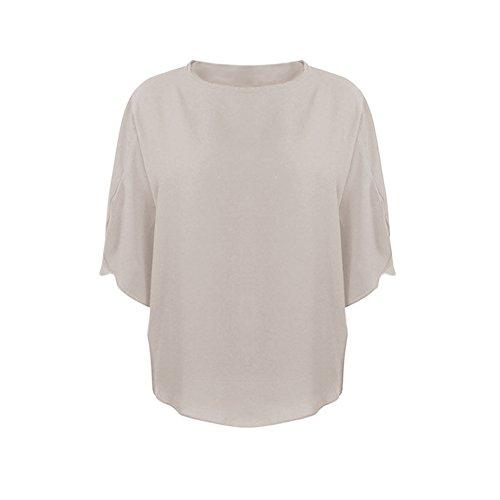 Hauts Casual Uni Mousseline Shirt Soie Gris Rond LAEMILIA Simple Chemisier de Chemise Manche Courte Blouse Col Tunique Femmes OwZtv